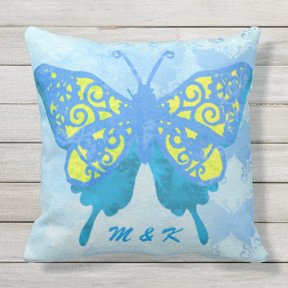 Watercolor Butterfly Blue Yellow Vintage Handpaint Cushion