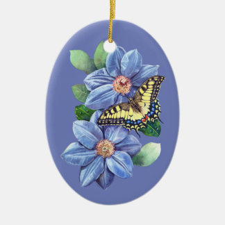 Watercolor Butterfly Ceramic Oval Ornament