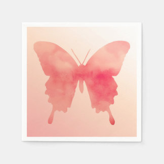 Watercolor Butterfly - Coral and Peach Paper Napkins