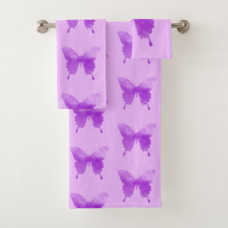 Watercolor Butterfly - Lavender and Violet Bath Towel Set