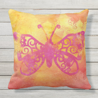 Watercolor Butterfly Pink Orange Yellow Handpaint Cushion