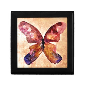 Watercolor butterfly small square gift box