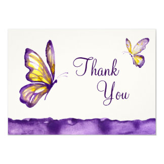 Watercolor Butterfly Thank You Cards Purple Yellow 13 Cm X 18 Cm Invitation Card