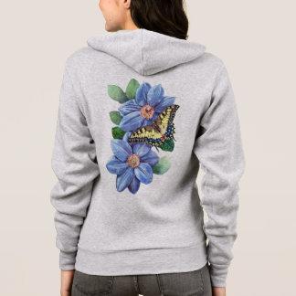 Watercolor Butterfly Zip Hoodie