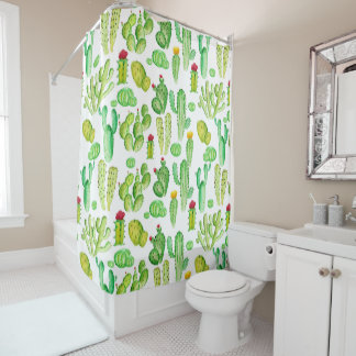 Watercolor Cacti Shower Curtain