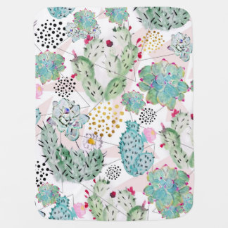 watercolor cactus and triangles pattern baby blanket