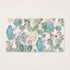 watercolor cactus and triangles pattern business card