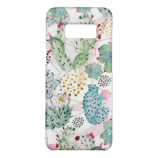 watercolor cactus and triangles pattern Case-Mate samsung galaxy s8 case