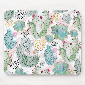 watercolor cactus and triangles pattern mouse mat