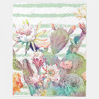 Watercolor cactus, floral and stripes design fleece blanket