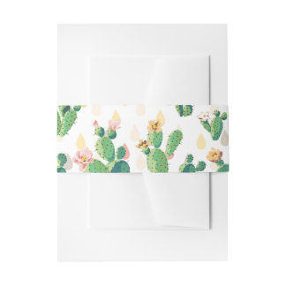 Watercolor Cactus Floral Belly Band Invitation Belly Band
