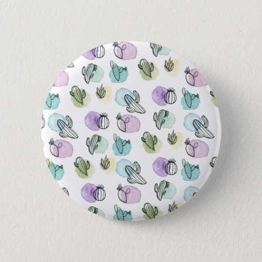 watercolor cactus pattern 6 cm round badge
