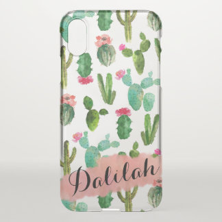 Watercolor Cactus Pattern Personalized iPhone X Case