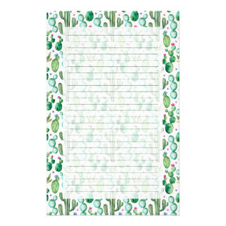 Watercolor Cactus Plants Pattern Stationery