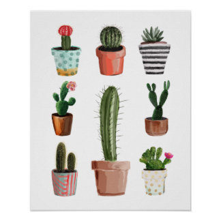 Watercolor Cactus Plants Poster