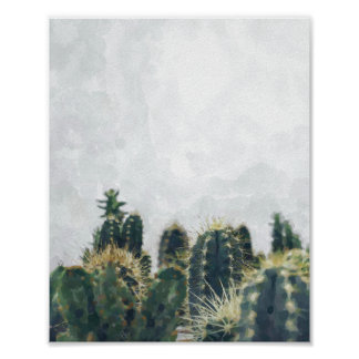 Watercolor cactus poster | 8x10