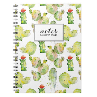 Watercolor Cactus Succulent Pattern Name Monogram Notebook