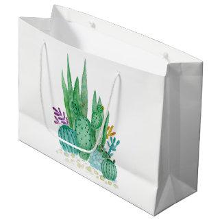 Watercolor , cactus , succulents large gift bag