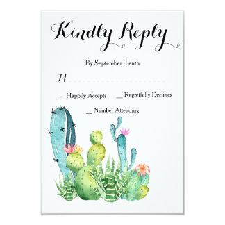 Watercolor Cactus Wedding RSVP Response Card