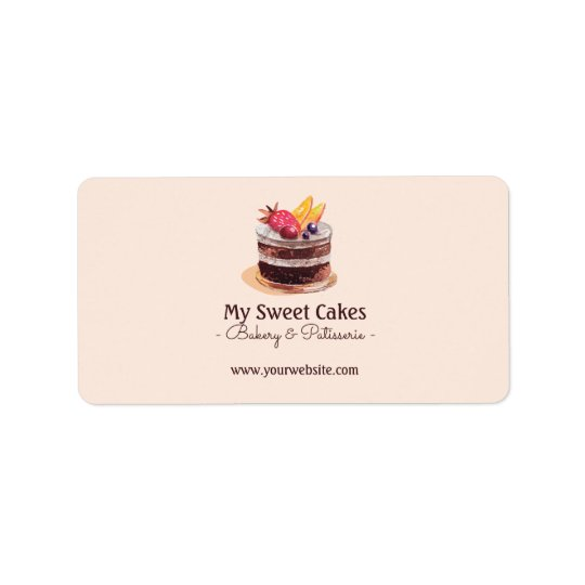 Watercolor cake patisserie cupcake Packaging Address Label