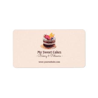 Watercolor cake patisserie cupcake Packaging Label