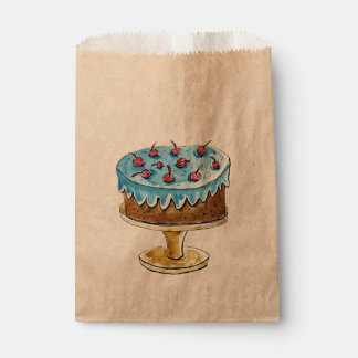 Watercolor cake, rustic themed design favour bags