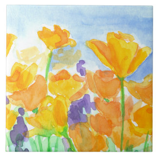 Watercolor California Poppy Flowers Tile