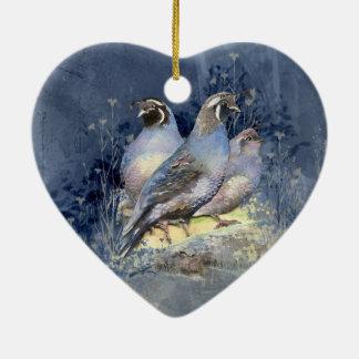 Watercolor California Quail Bird in Blue Ceramic Heart Decoration