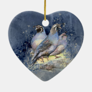 Watercolor California Quail Bird in Blue Christmas Ornament