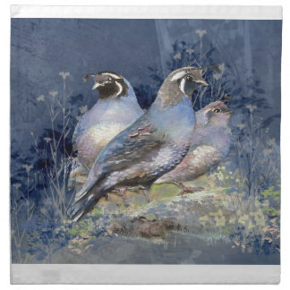 Watercolor California Quail Bird in Blue Cloth Napkins