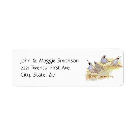 Watercolor California Quail State Bird Nature art Return Address Label