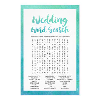 "Watercolor Calligraphy ""Wedding Word Search"" Game 14 Cm X 21.5 Cm Flyer"