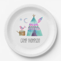 Watercolor Camping Birthday Party Paper Plate