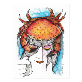 Watercolor Cancer Crab Woman Postcard