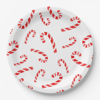 Watercolor Candy Cane Pattern 9 Inch Paper Plate