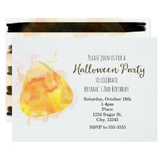 Watercolor Candy Corn Halloween Party Invitations
