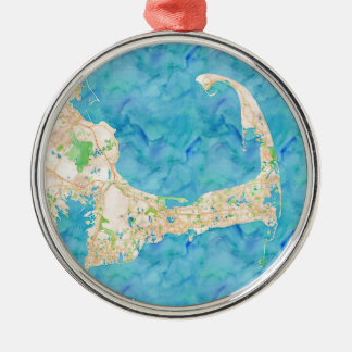 Watercolor Cape Cod Map Christmas Ornament