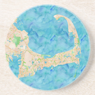 Watercolor Cape Cod Map Coaster