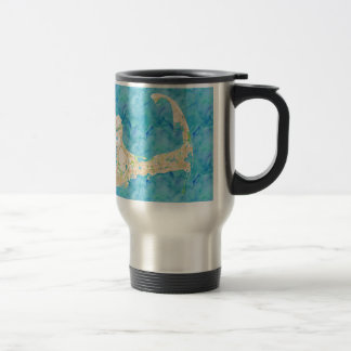 Watercolor Cape Cod Map Stainless Steel Travel Mug