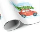 Watercolor Car with Christmas tree Wrapping Paper