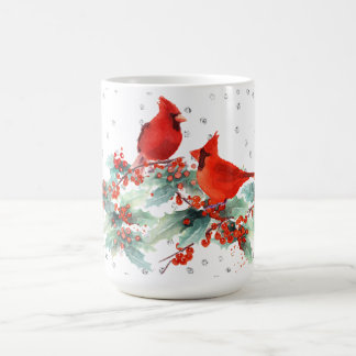 Watercolor Cardinal on Branches Silver Accents Coffee Mug