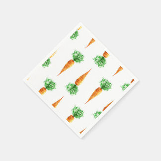 Watercolor carrots print paper napkin
