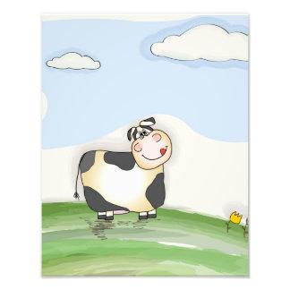 Watercolor Cartoon Cow Photo Print