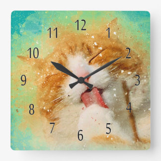 Watercolor Cat Clock, Ginger Cat Washing Square Wall Clock