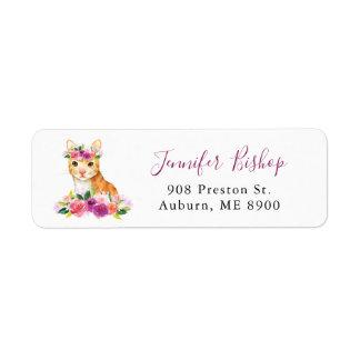 Watercolor Cat Floral Return Address Label I