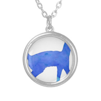 Watercolor Cat Round Pendant Necklace