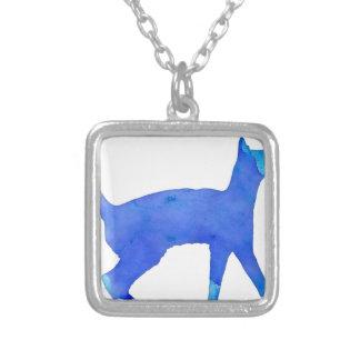 Watercolor Cat Square Pendant Necklace