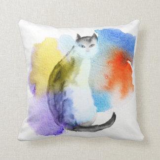 Watercolor Cat Throw Pillow