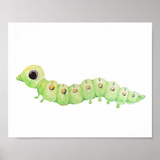 Watercolor caterpillar nursery print