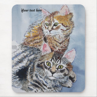 Watercolor Cats Resting Mouse Pad
